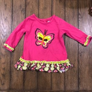 Rare Editions Butterfly Appliqué Top 6-9m EUC